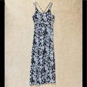 Loft Black, White, & Blue Cotton Maxi dress
